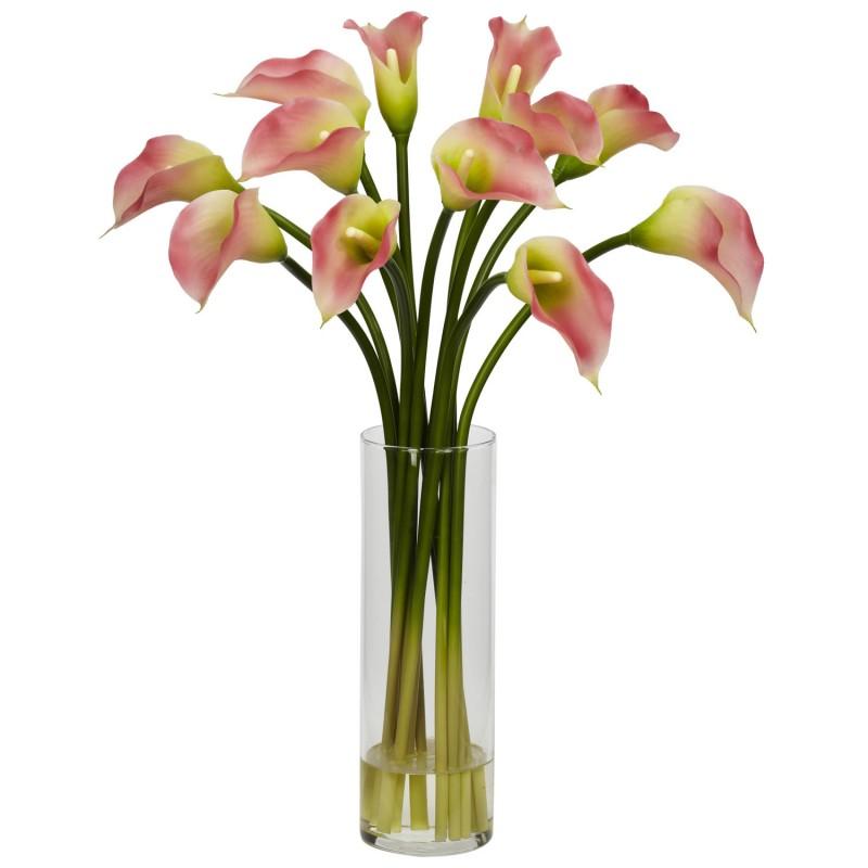 15 розовых калл в вазе